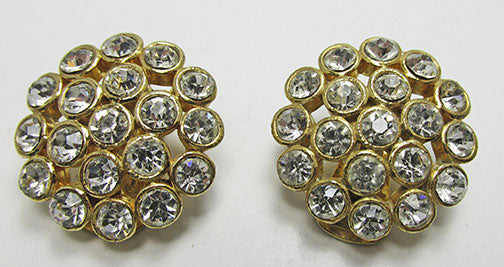 Bold Vintage Retro Contemporary Style Rhinestone Button Earrings