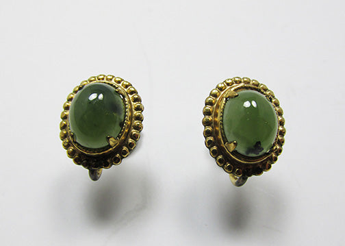 LSP Co. Vintage Retro 1940s Gold Filled Gemstone Button Earrings