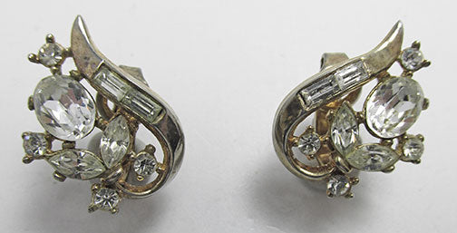 Crown Trifari Vintage Flawless 1950s Rhinestone Button Earrings