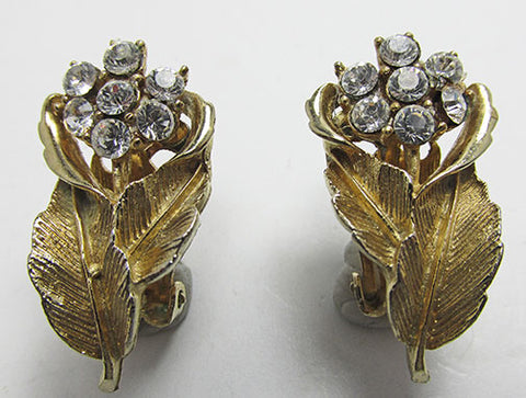 Coro Vintage 1950s Mid-Century Dainty Rhinestone Floral Spray Earrings