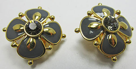 Stunning Joan Rivers Retro Gray Enamel and Black Diamond Earrings