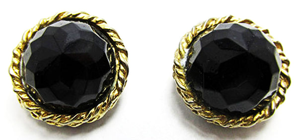 Vogue 1950s Mid-Century Eye-Catching Onyx Rhinestone Button Earrings