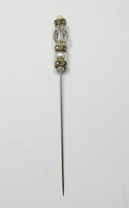 Vintage 1960s Lovely Crystal, Pearl, and Rhinestone Hat or Stick Pin