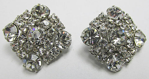 Vintage Mid-Century Extraordinary Rhinestone Geometric Earrings