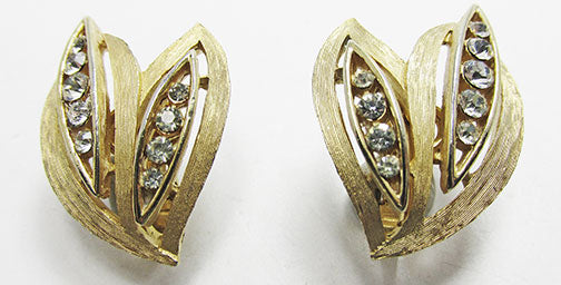 Crown Trifari Vintage 1960s Exceptional Retro Rhinestone Leaf Earrings