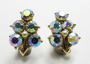 Vintage 1950s Mid-Century Unique Aurora Borealis Leaf Earrings