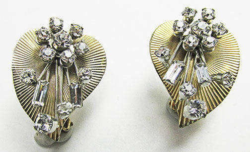 Beaujewels Vintage 1950s Three Dimensional Floral Heart Earrings