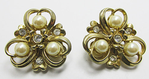 Vintage Unique Mid-Century Triple Heart Pearl and Rhinestone Earrings
