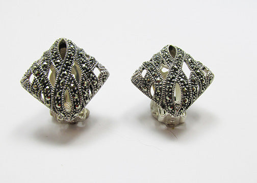 Vintage 1960s Beautiful Contemporary Style Sterling Marcasite Earrings