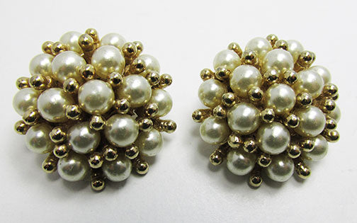 Marvella Vintage 1950s Mid-Century Exceptional Pearl Button Earrings
