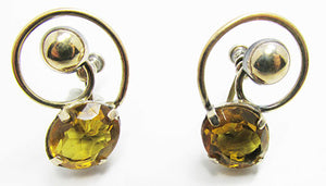 Vintage 1940s Retro Elegant and Timeless Citrine Button Earrings
