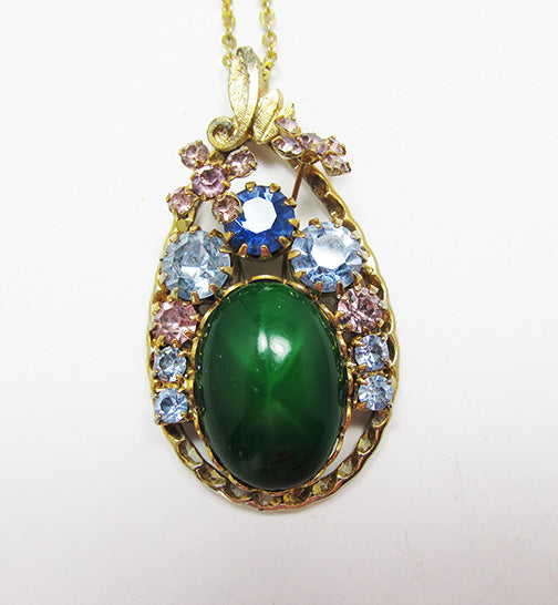 Vintage Mid Century 1950s Outstanding Floral Rhinestone Pendant