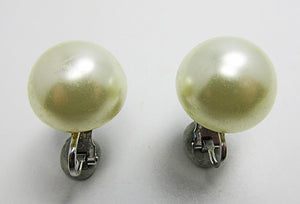 Marvella Vintage 1950s Mid-Century Bold Pearl Cabochon Button Earrings