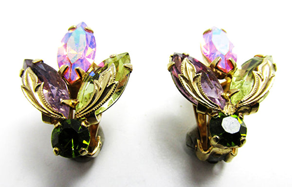Weiss 1950s Vintage Jewelry Mid-Century Diamante Floral Earrings - Front
