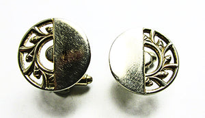 Vintage 1950s Men's Jewelry Distinctive Mid-Century Gold Cufflinks - Front