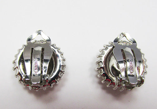 Pennino Vintage Exquisite Mid Century Clear Rhinestone Button Earrings