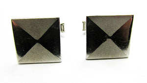 Vintage 1950s Men's Jewelry Mid-Century Geometric Silver Cufflinks - Front