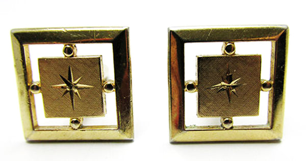 Swank Vintage 1960s Handsome Retro Geometric Cuff Links