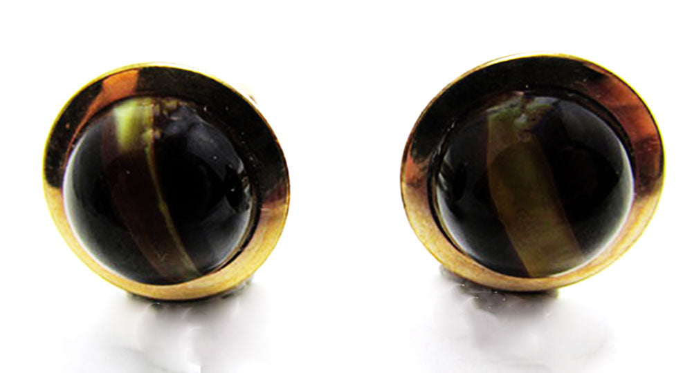 Krementz Vintage 1950s Mid-Century Eye-Catching Tiger Eye Cufflinks