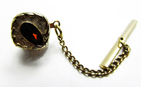 Swank Vintage 1960s Men's Jewelry Timeless Geometric Diamante Tie Tack - Front