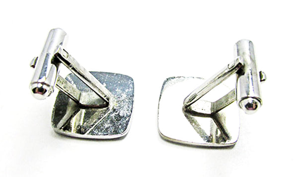 1960s Vintage Jewelry Men's Retro Silver Engraved Square Cufflinks - Back