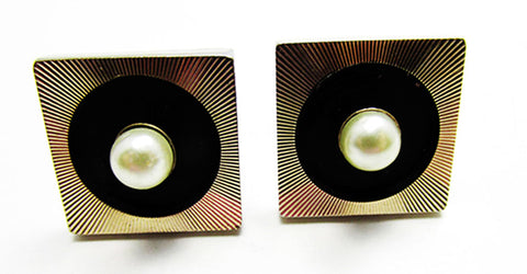 Vintage Men's Jewelry Eye-Catching 1950s Geometric Pearl Cufflinks - Front