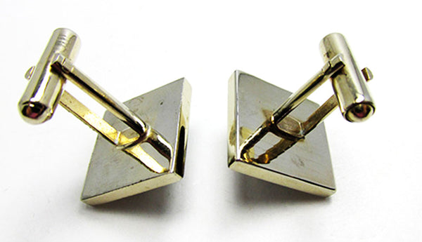 Vintage Men's Jewelry Eye-Catching 1950s Geometric Pearl Cufflinks - Back