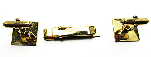 Anson Vintage Mid-Century Handsome Gold Filled Tie Clip and Cufflinks