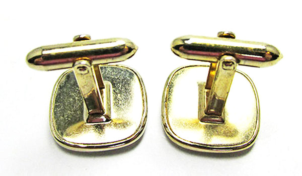 Vintage 1960s Men's Jewelry Handsome Mid-Century Geometric Cufflinks - Back