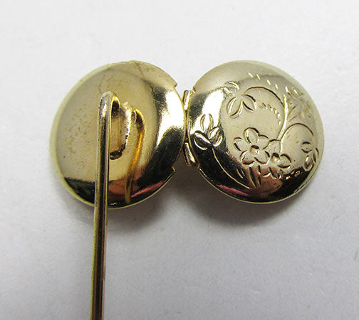 Vintage 1960s Adorable Retro Engraved Hat or Stick Pin Locket