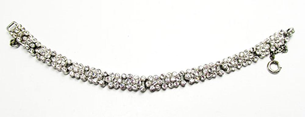Vintage Jewelry 1930s Retro Superb Diamante Floral Link Bracelet - Front