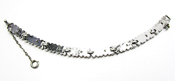 Vintage Jewelry 1930s Retro Superb Diamante Floral Link Bracelet - Back