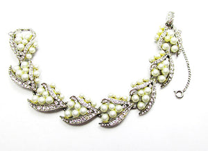 Kramer NY 1950s Vintage Costume Jewelry Pearl and Diamante Bracelet - Front