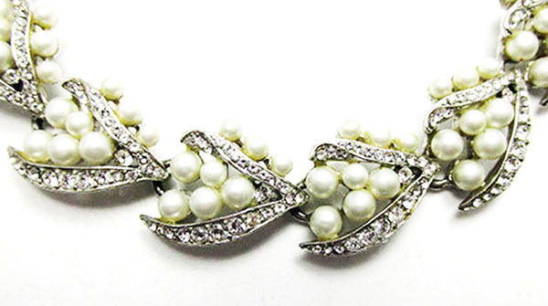 Kramer NY 1950s Vintage Costume Jewelry Pearl and Diamante Bracelet - Close Up