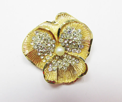 BSK Vintage Exceptional Mid Century Rhinestone and Pearl Flower Pin