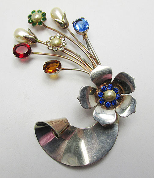 Vintage Retro 1940s Distinctive Vermeil Floral Bouquet Pin