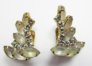 Vintage 1950s Mid-Century Exotic Rhinestone Leaf Earrings