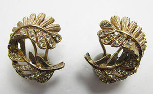 Delicate Vintage 1960s Retro Rhinestone Fern Leaf Button Earrings