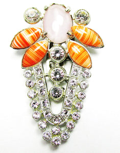 Bold Eye-Catching Vintage 1930s Art Deco Diamante Dress Clip - Front