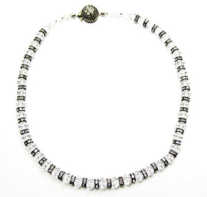 1960s Vintage Costume Jewelry Diamante and Crystal Bead Necklace - Front