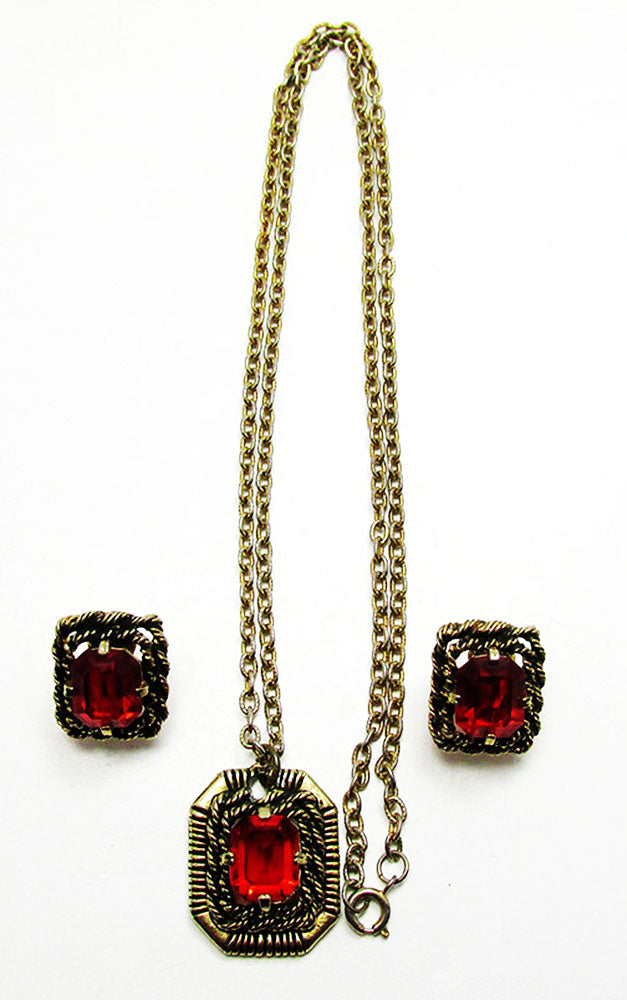 Sarah Coventry 1960s Vintage Ruby Diamante Pendant and Earrings Set - Front