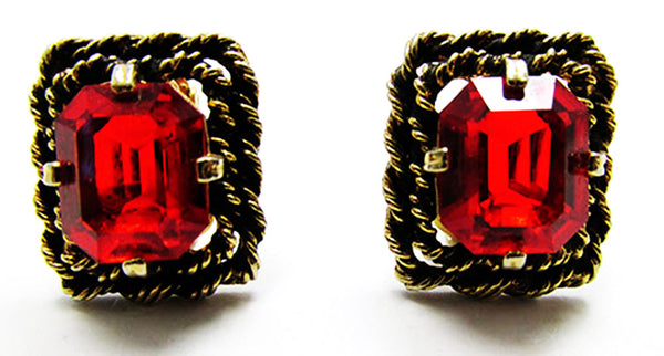 Sarah Coventry 1960s Vintage Ruby Diamante Pendant and Earrings Set - Earrings