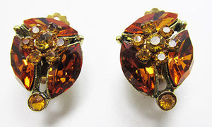 Vintage Dazzling Mid Century 1950s Topaz Floral Earrings