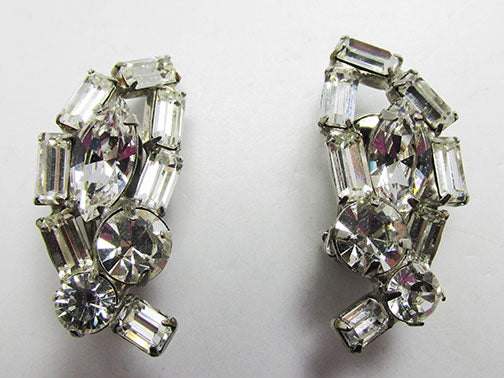 Vintage Spectacular Mid Century 1950s Rhinestone Earrings