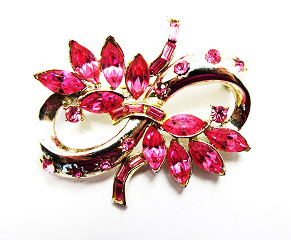 Vintage 1950s Jewelry Gorgeous Pink Diamante Floral Ribbon Pin - Front