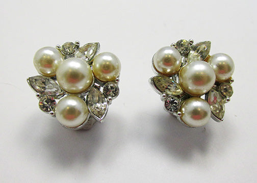 Lisner Vintage Exquisite 1950s Rhinestone and Pearl Floral Earrings