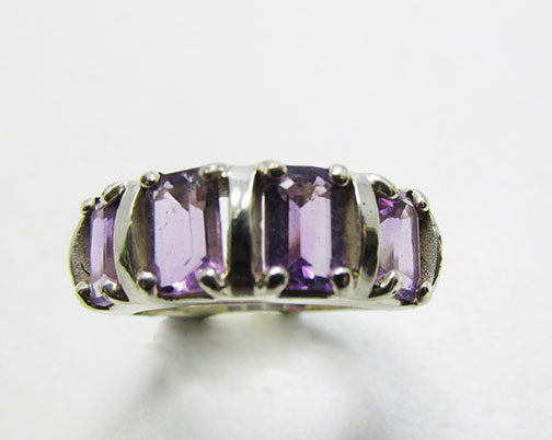 Vintage Retro Geometric Contemporary Style Amethyst Fashion Ring