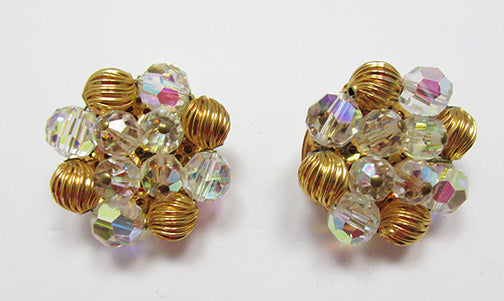 Vendome Vintage 1950s Stunning Crystal and Gold Bead Earrings