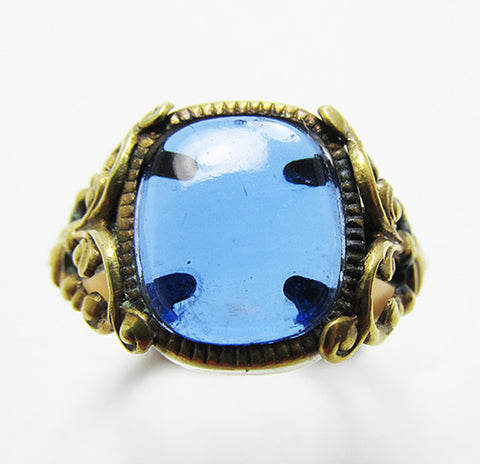 Dainty Vintage Rare 1930s Retro Art Deco Sapphire Fashion Ring