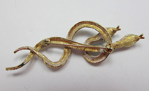 Art Vintage Mid Century 1950s Figural Double Snake Pin